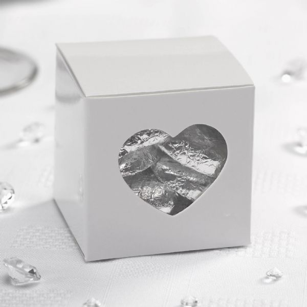 Contemporary Heart Favour Boxes - White (10)